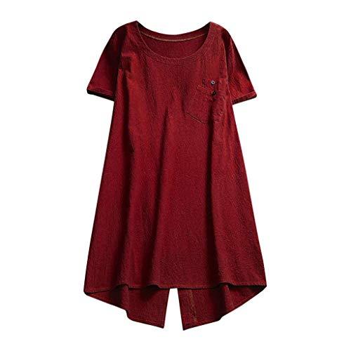 LOPILY Kurzarm Lose T-Shirtkleid Damen Knopf Bluse Sommerkleider mit Taschen Einfarbig Einfach Bequem Freizeit Pocket Strandkleid Solide Unregelmäßiger Saum Kleider(Weinrot,DE-42/CN-L)