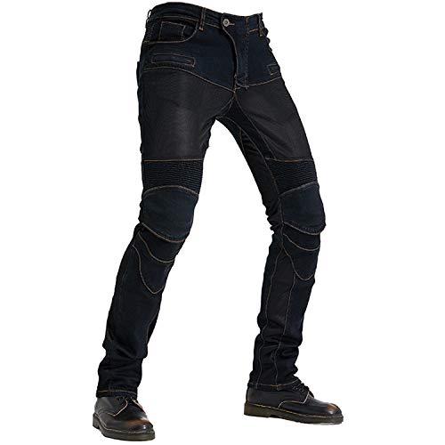 QINYA Pantalones De Moto Para Hombre, Vaqueros De Kevlar Para Hombre, Vaqueros De Moto Cómodos, Transpirables Y Elegantes (black,2XL)