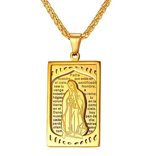 Inveroo Virgen María Colgante Biblia Collar Mujeres Oro Color Acero Inoxidable Libro religioso Hombres Joyería Cristiana