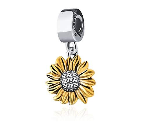 Bolenvi Colgante de plata de ley 925 con diseño de girasol dorado para pulseras o collares similares