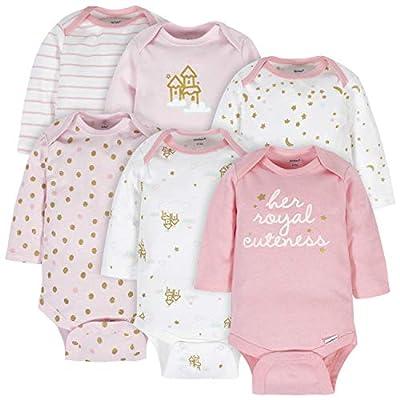 Gerber Baby 6-Pack Long-Sleeve Onesies Bodysuit, Castle, 3-6 Months