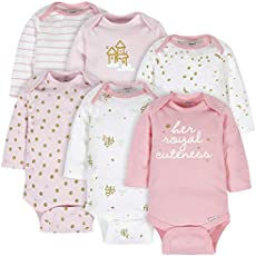 Gerber Baby 6-Pack Long-Sleeve Onesies Bodysuit, Castle, 3-6 Months