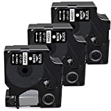 Airmall Compatible Label Tape Replacement for Dymo D1 Label Tape White on Black 45021 Permanent Polyester Label Maker Refills, 1/2-inch for Dymo LabelManager 160 280 420P 210D PnP 450DUO Tapes, 3-Pack
