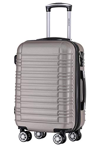 BEIBYE 2088 Zwillingsrollen Reisekoffer Koffer Trolleys Hartschale M-L-XL-Set in 13 Farben (Champagner, M)
