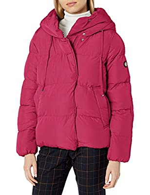 Jessica Simpson Women's Puffer Jacket, Hooded Hot Pink, L from Jessica Simpson