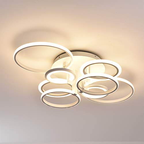 Lámpara de techo LED Simplicidad Moderna Creatividad 8 Anillos Iluminación para Sala de Star Dormitorio Comedor Control Remoto Regulable Atenuación Continua Pantalla de Metal Acrílico