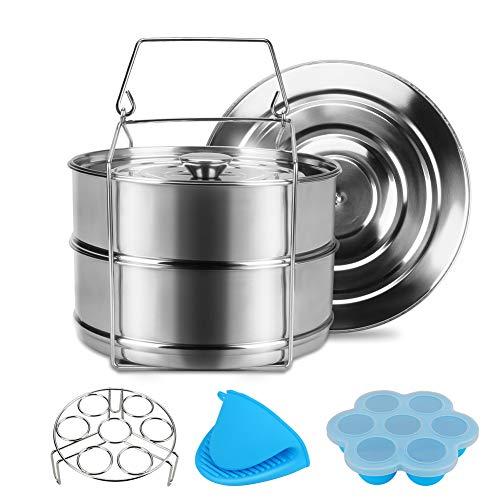Olla a presión Set de accesorios Achort Instant Pot, 2 huevera Steamer Rack, moldes de silicona para picaduras de huevos, rejilla para vaporizadores de huevos, 2 guantes para horno