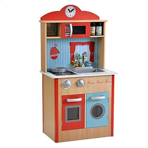 Teamson - Cocina juguete madera, Cocinita con accesorios, Utensilios de cocina, Juguetes niños 3 años, Juguetes de madera, Cocinitas de juguetes, Cocinitas de madera, Accesorios cocina (85288)