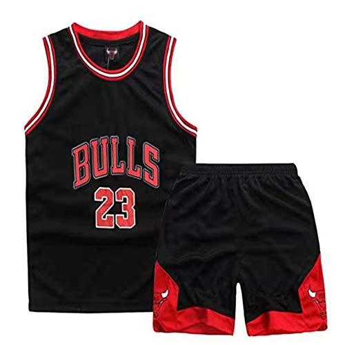 Jungenwesten Jordrn # 23 Bulls Basketball Fan Jersey Set, Kleidungssets für Jungen Mädchen Training T-Shirt Uniform Classic Top Shorts Anzug-Black-XS