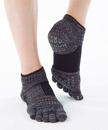 Knitido+ Umi ABS Zehensocken für Pilates und Yoga, mit Arch Support, Größe:39-42, Farbe :schwarz (09)