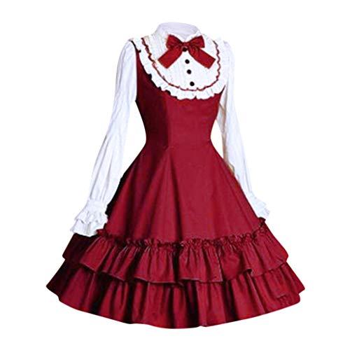 perfectCOCO Prinzessinnenkleid für Damen, Retro, Boho, massives Kleid, Schleife, Rüschen, Spitze, Ballkleid, Mini-Kleid - Rot - Large