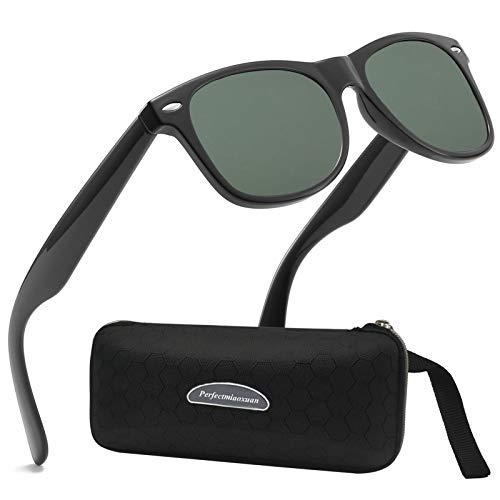 Perfectmiaoxuan Gafas de sol polarizadas Hombre Mujere Retro/Aire libre Deportes Golf Ciclismo Pesca Senderismo 100% protección UVA gafas unisex golf conducción Gafas gafas de sol (D/Dark green)