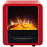 B&MF Freestanding Fireplace, Portable Electric Stove Heater Fireplace Fire Leisure Zone Portable Modern with Adjustable Thermostat Control Realistic Flame Effect,Red