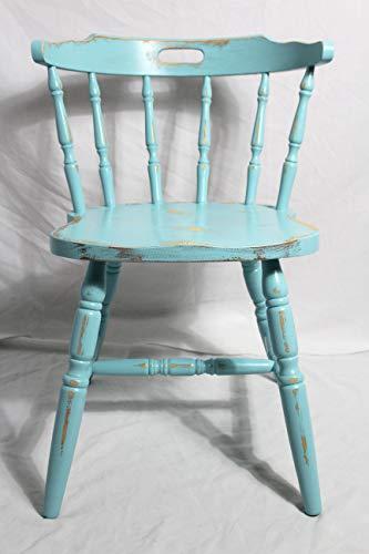 Shabby Stuhl alter blauer Armlehnenstuhl/Sprossenstuhl/Holzstuhl/Küchenstuhl türkis blau 60er Jahre Vintage Möbel Shabby Chic Möbel Landhaus Country