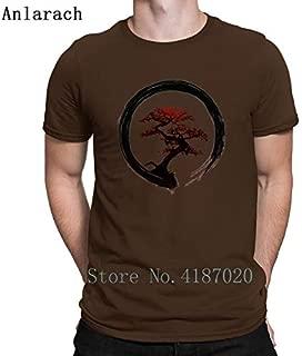 Bonsai Tree Enso Circle Buddhist Zen Calligraphy Tshirt Spring Autumn Tshirt for Men O Neck Creative Letters:Coffee, L