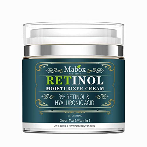 Mabox Moisturizer Cream for Face and Eye Area with 2.5% Active Retinol, Hyaluronic Acid, Vitamin E. Anti Aging Formula Reduces Wrinkles, Fine Lines. Best Day and Night Cream (1.7 Fl. Oz)