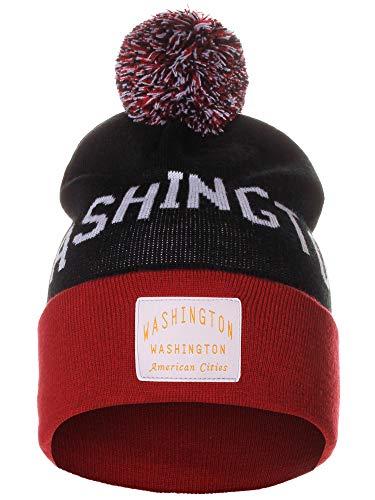 American Cities Washington DC Arch Letters Pom Pom Knit Hat Cap Beanie