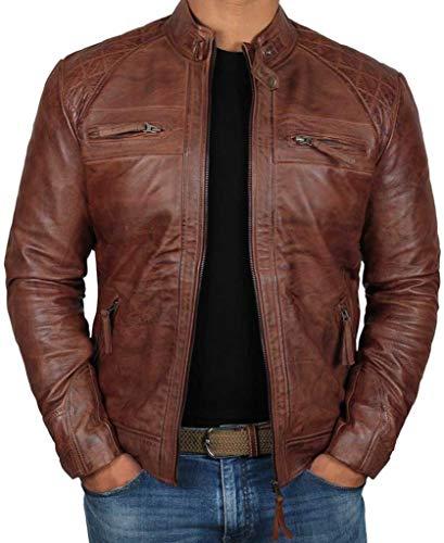 AQ07 Fashion Lederjacke - Café Racer Motorcycle Real Lambskin Leather Biker Jacket, echtes Lammleder, braun (L)