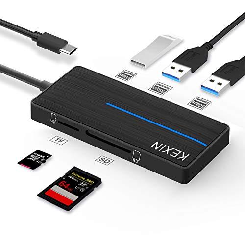 KEXIN USB C Hub USB 3.0 con Lettore Schede SD/TF, Hub Multiporta USB 3.0 3 Porte 5 Gbps Trasmissione Dati Supporta Windows, Mac OS, Compatibile con PC MacBook Altro Dispositivo USB C (Nero)