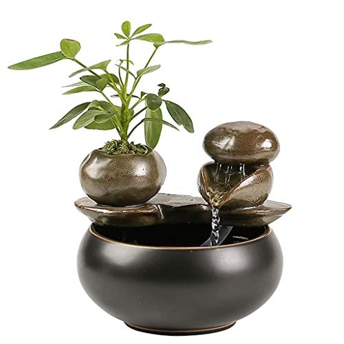 Tafelblad Waterfontein Keramiek Zen Meditatie Indoor Desktop Office Calming Water Sound Relaxing Fountain voor Thuis Office Decor Vijverfonteinen (Color : A)