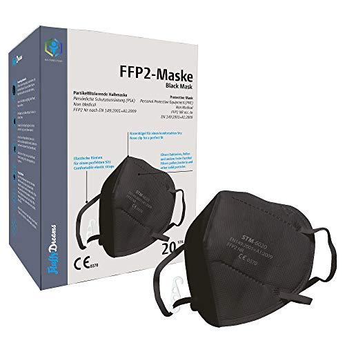Fluffy Dreams I FFP2 Partikelfiltrierende Halbmaske Mund-Nasen-Schutz Maske mit CE Zertifikat | FFP2 Atemschutzmaske I 5-lagig Maske Mundschutzmaske I 20 Stück EINZELVERPACKT I SCHWARZ