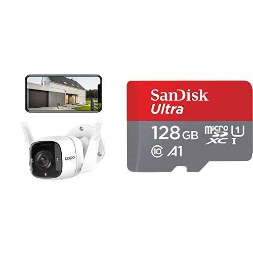 TP-Link Cámara de Vigilancia WiFi Exterior/Interior, Audio Bidireccional, Visión Nocturna, Detección de Movimiento + SanDisk Tarjeta de Memoria microSDXC, Adaptador SD, 120 MB/s, 128 GB, Rojo/Gris