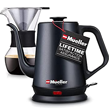 Mueller Coffee Serving SetElectricGooseneckKettle with Pour Over Drip Set Coffee Maker Stainless Steel Coffee Servers Kettle & Tea Kettle Matte