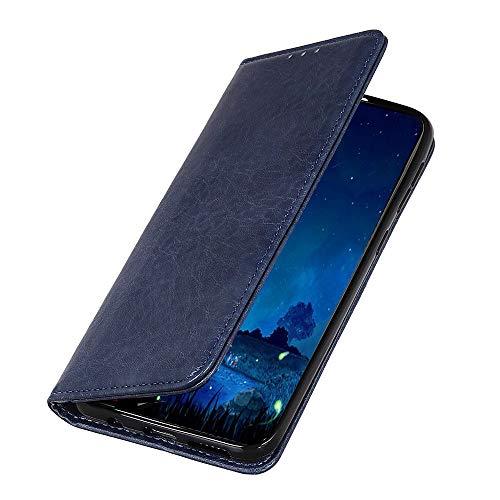jbTec Handy Hülle Case Leder passend für LG Q60 - Schutz Tasche Smartphone Flip Cover Phone Bag Klapp Klappbar Etui Book, Farbe:Navy-Blau