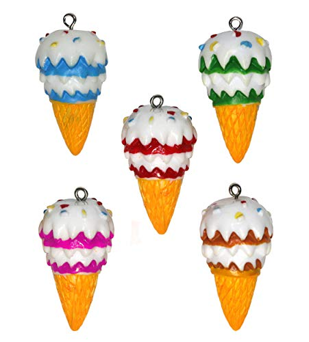 Lucore Colorful Ice Cream Cone Pendant Charms - 5 PC Set of Cute Mini Icecream Ornaments and DIY Craft Supply