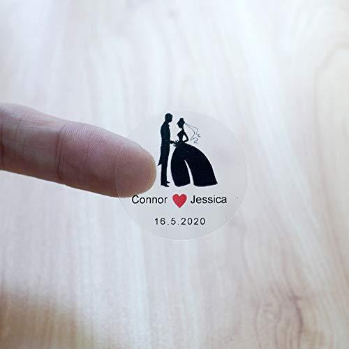 BLOUR 96Pcs 3cm benutzerdefinierte Hochzeit Aufkleber personalisierte Namensschild transparentes rundes Logo für Party begünstigt Süßigkeiten Geschenkboxen Verpackung