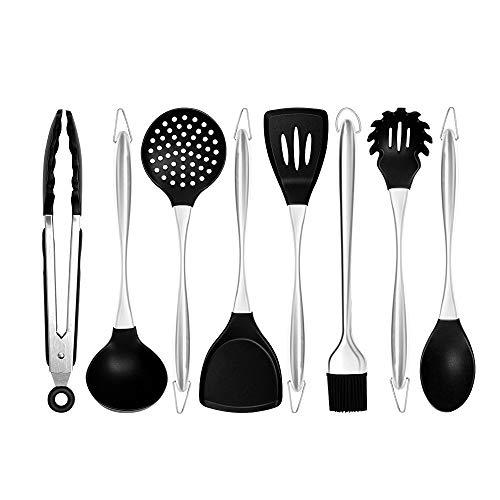 xingxing Juego de utensilios de cocina de silicona con mango de acero inoxidable para cocina, utensilios de cocina antiadherentes, kit de herramientas de horneado, cuchara de sopa (color: 8 unidades)
