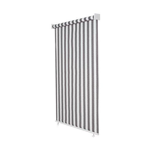 jarolift Außenrollo Senkrechtmarkise 100 x 140 cm (BxH) Grau - Weiss, Sonnenschutz Sichtschutz für Balkon Terrasse
