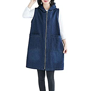 Women's Zipper Up Mid Long Hoodies Denim Jean Jacket Vest Waistcoat