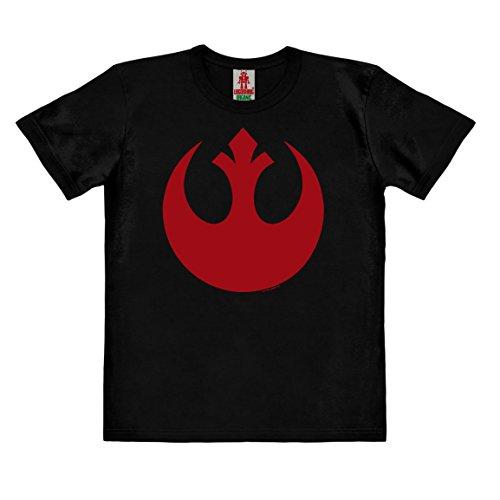 Logoshirt Star Wars - Rogue One - Alianza Rebelde Logo Camiseta 100% algodón ecológico para niño - Negro - Diseño Original con Licencia, Taglia 104, 3-4 años