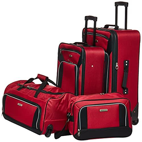 American Tourister Fieldbrook XLT Softside Upright Luggage, Red/Black, 4-Piece Set (BB/DF/21/25)