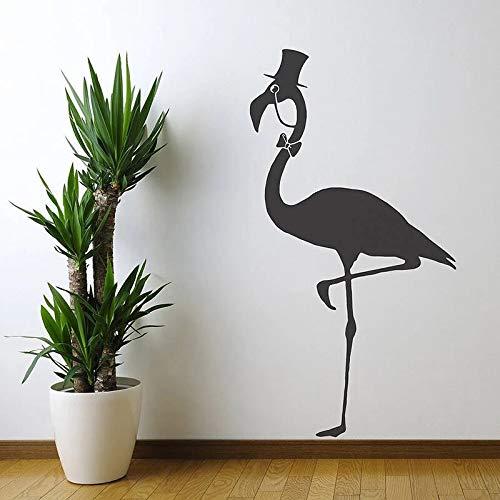 AQjept Flamingo con Sombrero Pegatinas de Pared de Vinilo calcomanías de Animales Divertidos para la Sala de Estar Wallpaper Wall poster86x45cm