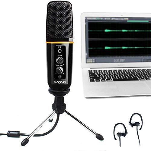 USB Condenser Microphone MAONO Computer Mic with Echo, Volume Control, Pattern Adjustable for Youtube Recording, Podcast, Gaming, Vocal Mic
