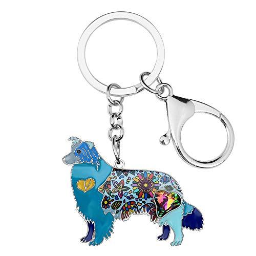 LZHLMCL Women Keyrings Keychains Enamel Alloy Rhinestone Dog Key Chains Keychain Holder Animal Jewelry For Women Girls Bag Purse Gift Blue