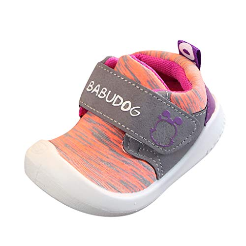 Lazzboy Freizeitschuhe Krabbelschuhe, Kleinkind Kinder Baby Mädchen Jungen Mesh Sport Turnschuhe Laufen Schuhe Lauflernschuhe Fliegendes Atmungsaktiv Sportschuhe(Orange,15(6-9Months))