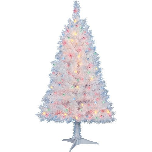 White Christmas Tree With Lights.Amazon Com 4 Ft Pre Lit Multi Color White Indiana Spruce