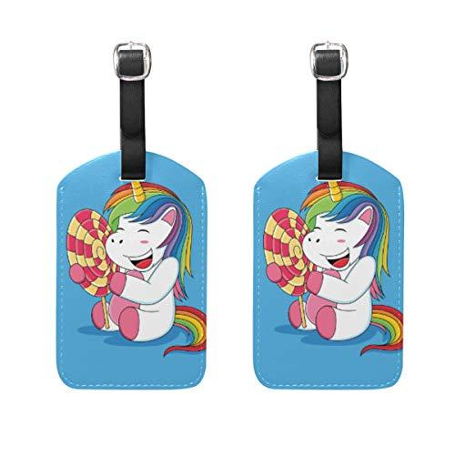 Gepäckanhänger Einhörner Lollipop aus PU-Leder mit Sichtschutz auf der Rückseite für Reisetasche, Koffer, 2 Stück