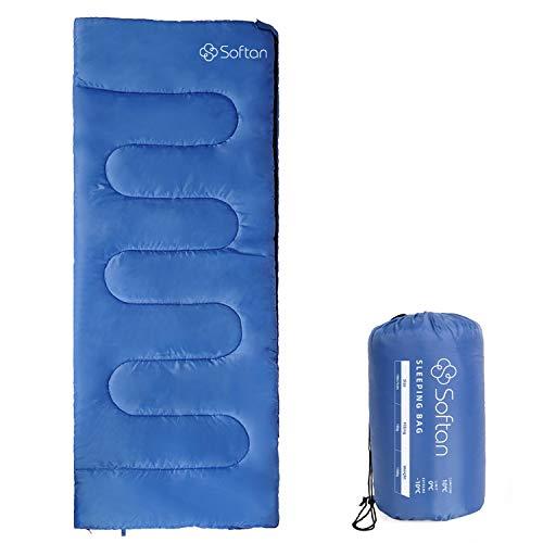 Softan - Sacco a pelo da campeggio con sacco a compressione, 4 stagioni, leggero e impermeabile per adulti, escursionismo, viaggi e attività all\'aperto