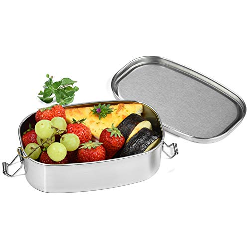 Stainless Steel Bento Box Dailyart Metal Lunch Box Containers with Lock Clips 304 Stainless Steel Snack Food Containers Metal Bento Box for Kids Adults Dishwasher Safe 550 ml186 oz