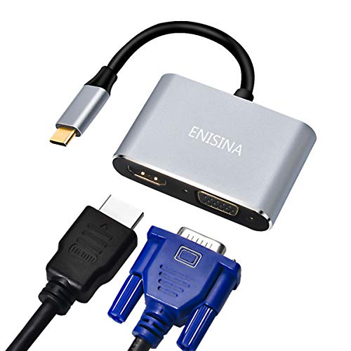 Enisina USB C Adapter, 2 Port Aluminum USB C Hub mit 4K HDMI, VGA für MacBook Pro & Air/Lenovo/Dell/Huawei/Microsoft Surface Book/Samsung Galaxy/ChromeBook Pixel und Mehr Typ C-Geräten