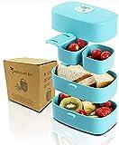 Auslaufsichere Lunchbox mit Besteck, Bento Box, Brodose mit Griff, 4 Fächer, Leicht zu Tragen, Spülmaschinenfest und Mikrowellenfest