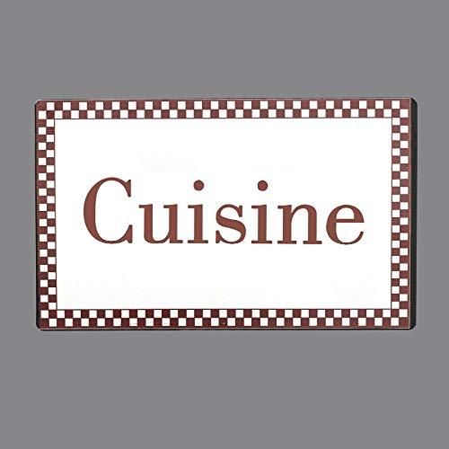 chemin_de_campagne Plaque de Porte Cuisine Fer Blanc Entourage Vichy Bordeaux Rectangulaire 15 cm