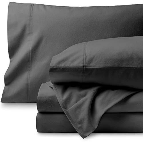Bare Home Flannel Sheet Set 100% Cotton, Velvety Soft Heavyweight - Double Brushed Flannel - Deep Pocket (King, Grey)