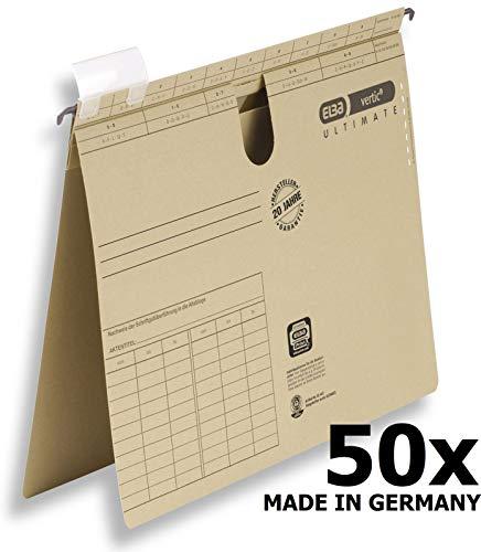 ELBA 100081039 Hängehefter vertic ULTIMATE 50er Pack kaufmännische Heftung aus Recycling-Karton für DIN A4 braun Blauer Engel ideal im Büro und der Behörde