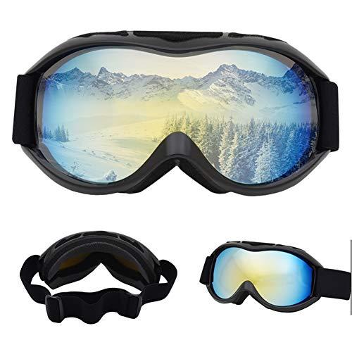 Skibrille, Weitsichtskibrille, zum Skifahren, Rodeln, Motorschlittenfahren, UV400 und Antibeschlag-Doppelglas-OTG-Skibrille, komfortables Schaumkissendesign, biegbare Skibrille mit TPU-Rahmen,Cadult