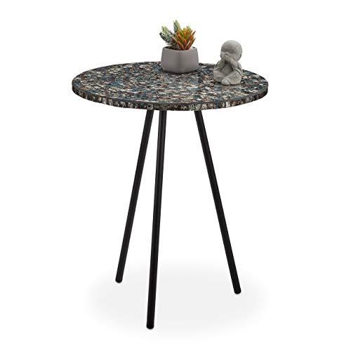 Relaxdays Mesa Auxiliar Mosaico, Hecha a Mano, Hierro-DM-Cristal, Negro Antiguo, 50 x 41 cm